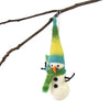 Hand Felted Christmas Ornament: Snowman - Global Groove (H) - origintraders