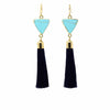 Gold and Turquoise Triangle Tassle Earrings - Starfish Project - origintraders
