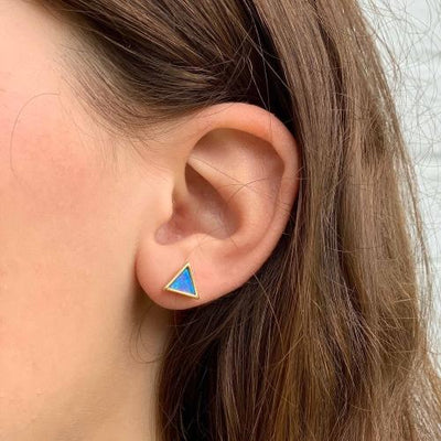 Gold and Blue Opal Triangle Stud Earrings - Starfish Project - origintraders