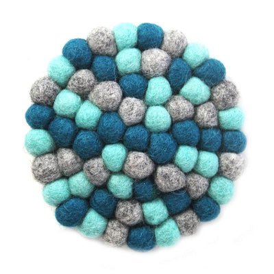 Hand Crafted Felt Ball Coasters from Nepal: 4-pack, Chakra Light Blues - Global Groove (T) - origintraders