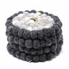 Hand Crafted Felt Ball Coasters from Nepal: 4-pack, Flower Black/Grey - Global Groove (T) - origintraders