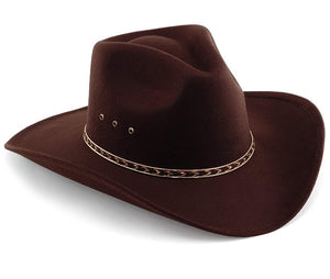 MFCB Special Western Pinch Front Faux Felt Cowboy Hat Size L  7 3/8 Brown $25.00