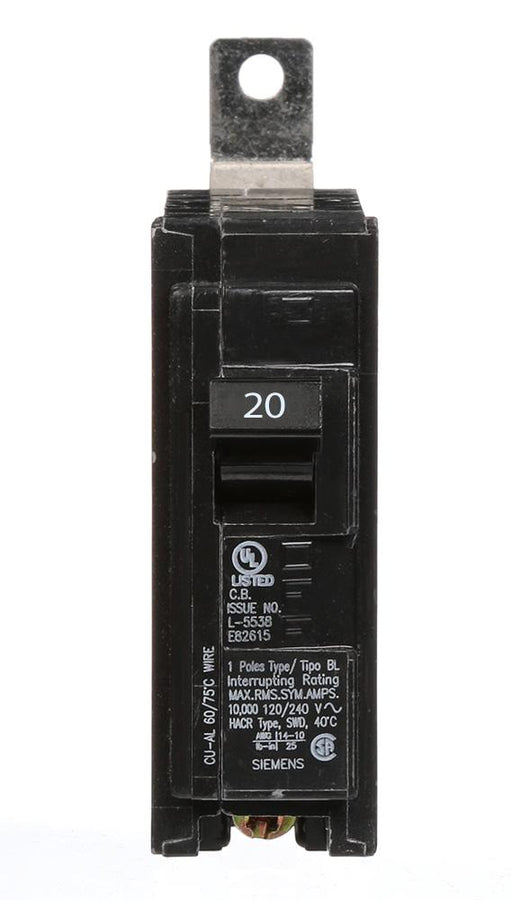B120 - Siemens 20 Amp Single Pole Bolt-On Circuit Breaker