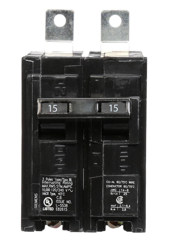 B215 - Siemens 15 Amp Double Pole Bolt-On Circuit Breaker