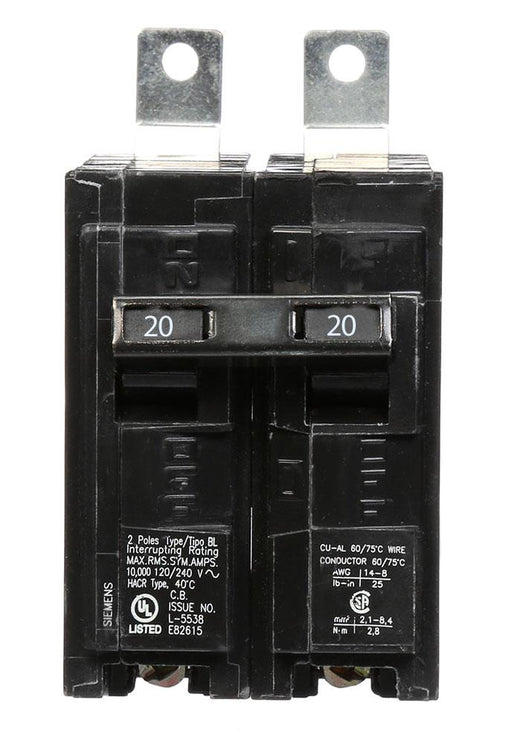 B220 - Siemens 20 Amp Double Pole Bolt-On Circuit Breaker