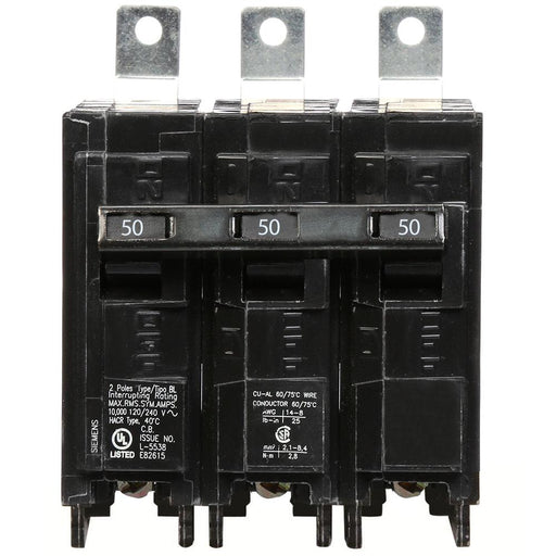 B350 - Siemens 50 Amp 3 Pole Bolt-On Circuit Breaker