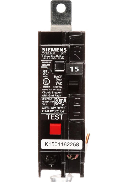 BE115 - Siemens 15 Amp 1 Pole 120 Volt GFCI Equipment Protection Circuit Breaker