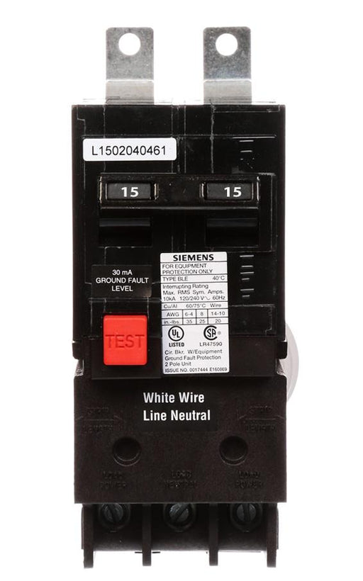BE215 - Siemens 15 Amp 2 Pole 240 Volt GFCI Equipment Protection Circuit Breaker