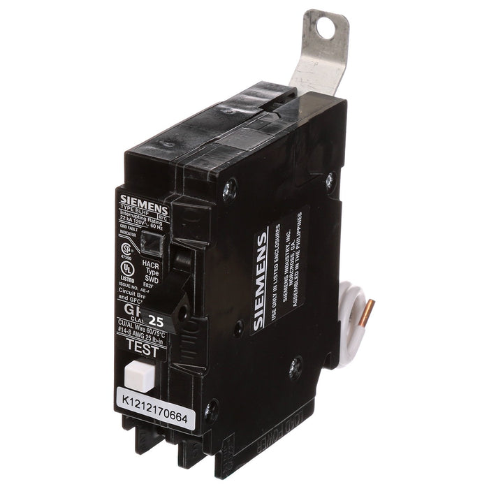 BF125A - Siemens 25 Amp Single Pole GFCI Bolt-On Circuit Breaker