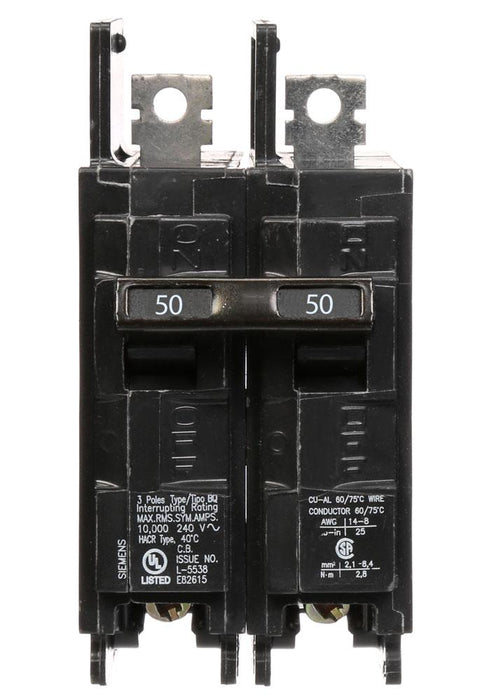 BQ2B050 - Siemens 50 Amp Double Pole 120/240V BQ Bolt-On Circuit Breaker