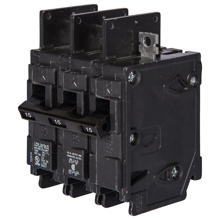 BQ3B015 - Siemens 15 Amp 3 Pole 120/240V BQ Bolt-On Circuit Breaker