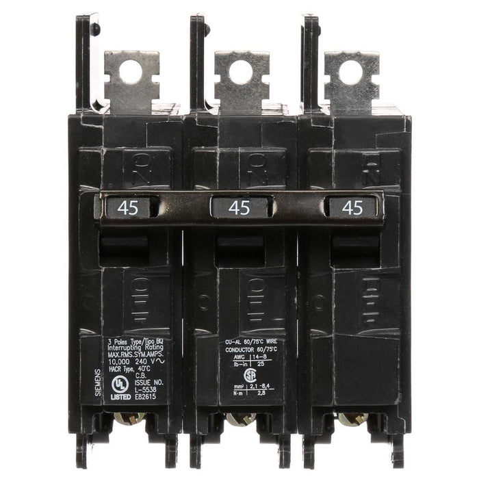 BQ3B045 - Siemens 45 Amp 3 Pole 120/240V BQ Bolt-On Circuit Breaker