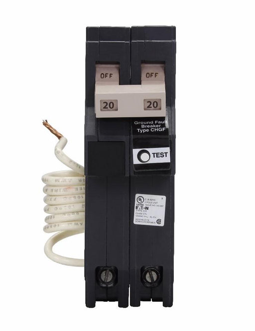 CH220GFT - Eaton Cutler-Hammer 20 Amp 2 Pole 240 Volt Ground Fault Plug-In Breaker