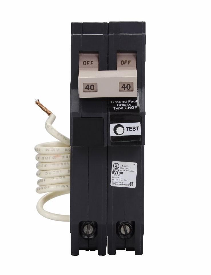 CH240GFT - Eaton Cutler-Hammer 40 Amp 2 Pole 240 Volt Ground Fault Circuit Breaker