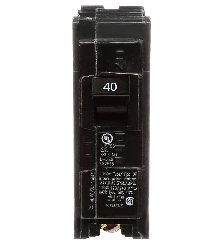 Q140 - Siemens 40 Amp Single Pole Circuit Breaker