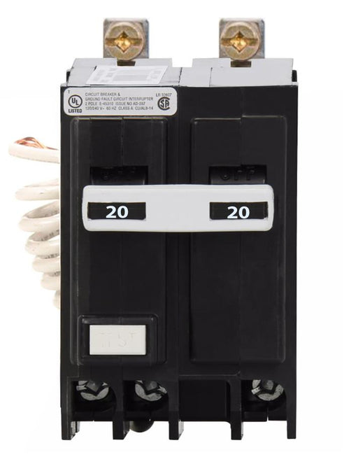QBGFT2020 - Eaton Cutler-Hammer 20 Amp Double Pole GFCI Bolt-On Circuit Breaker