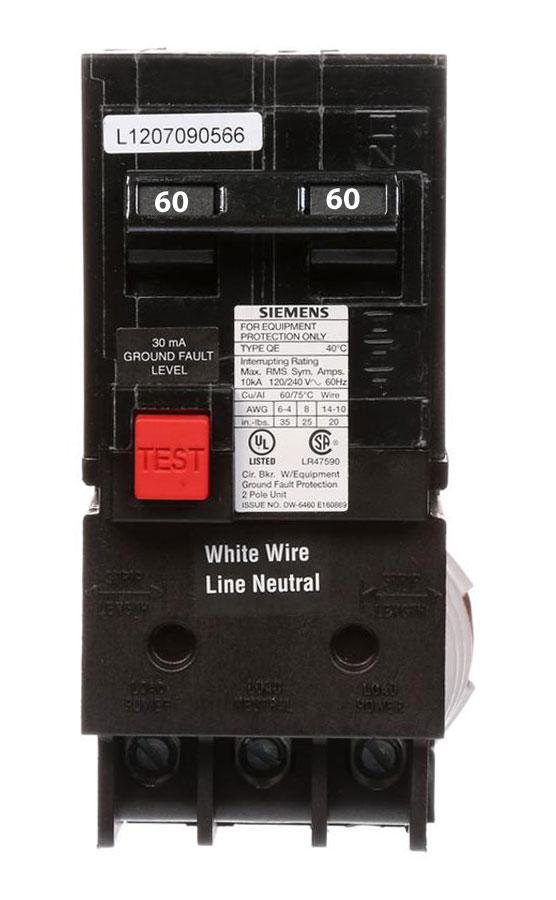 QE260 - Siemens 60 Amp 2 Pole 240 Volt GFCI Equipment Protection Circuit Breaker