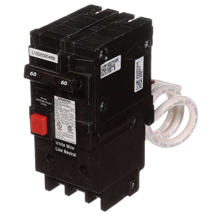 QE260 - Siemens 60 Amp 2 Pole 240 Volt Ground Fault Equipment Protection Circuit Breaker