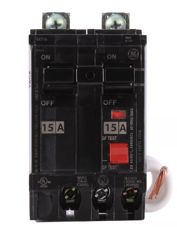 THQB2115GFEP - GE 15 Amp 2 Pole 30 mA Ground Fault (GFCI) Breaker