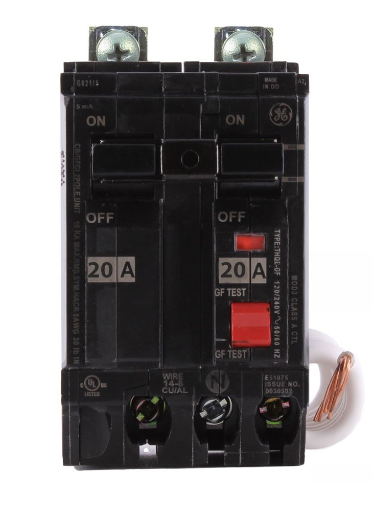 THQB2120GFEP - GE 20 Amp 2 Pole 30 mA Ground Fault (GFCI) Breaker
