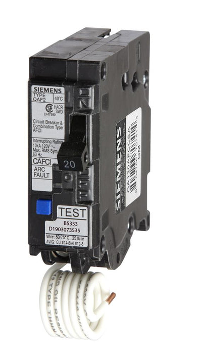 QA120AFCCSA - Siemens 20 Amp Single Pole Combination AFCI Circuit Breaker