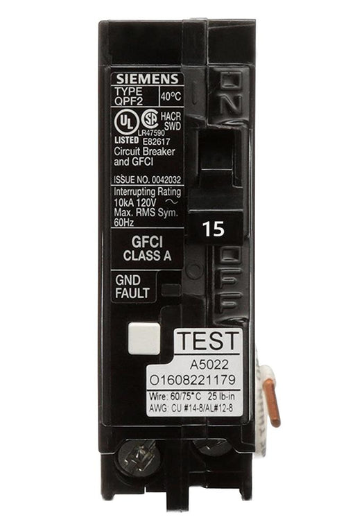 QF115A - Siemens 15 Amp Single Pole GFCI Circuit Breaker