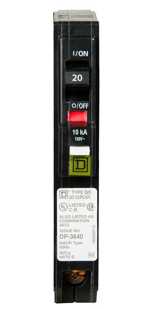 QO120PCAFI - Square D 20 Amp Single Pole AFCI Circuit Breaker
