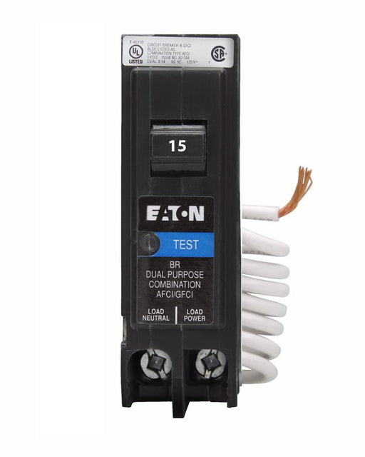 BRN115DFC - Eaton Cutler-Hammer 15 Amp Single Pole Dual Function Arc Fault & Ground Fault Circuit Breaker