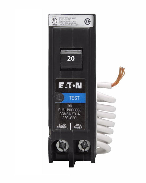 BRN120DFC - Eaton Cutler-Hammer 20 Amp Single Pole Dual Function Arc Fault & Ground Fault Circuit Breaker