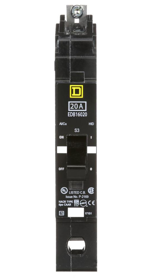 EDB16020 - Square D 20 Amp 1 Pole 600 Volt Bolt-On Molded Case Circuit Breaker