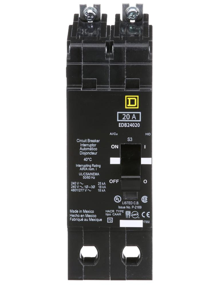 EDB24020 - Square D 20 Amp 2 Pole 480 Volt Bolt-On Molded Case Circuit Breaker