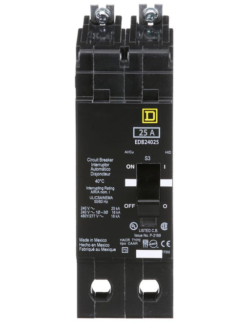 EDB24025 - Square D 25 Amp 2 Pole 480 Volt Bolt-On Molded Case Circuit Breaker