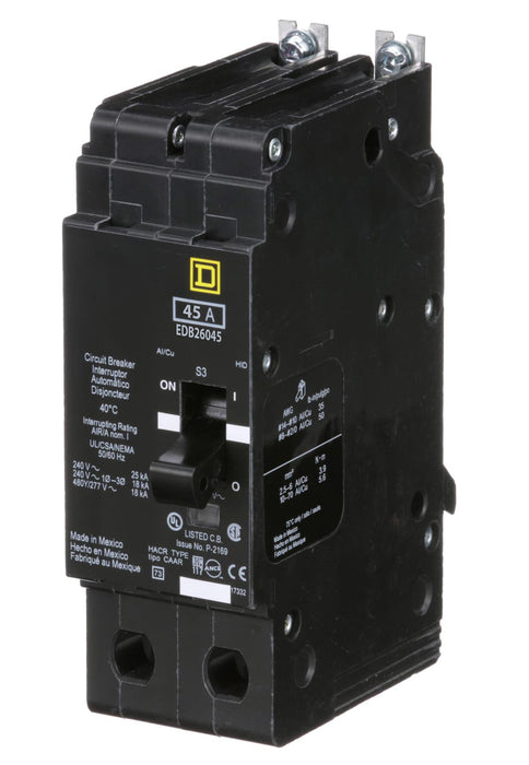EDB26045 - Square D 45 Amp 2 Pole 600 Volt Bolt-On Molded Case Circuit Breaker
