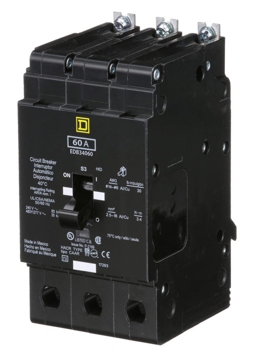 EDB34060 - Square D 60 Amp 3 Pole 480 Volt Bolt-On Molded Case Circuit Breaker