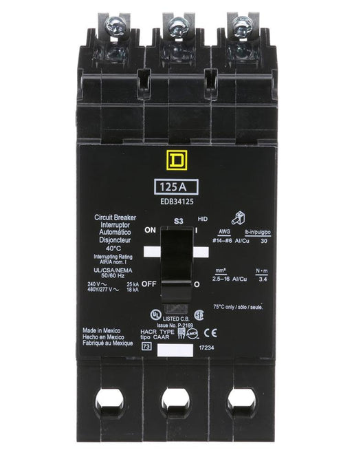 EDB34125 - Square D 125 Amp 3 Pole 480 Volt Bolt-On Molded Case Circuit Breaker