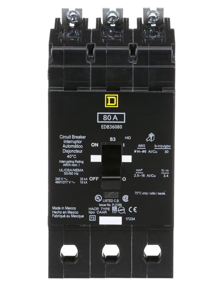 EDB36080 - Square D 80 Amp 3 Pole 600 Volt Bolt-On Molded Case Circuit Breaker