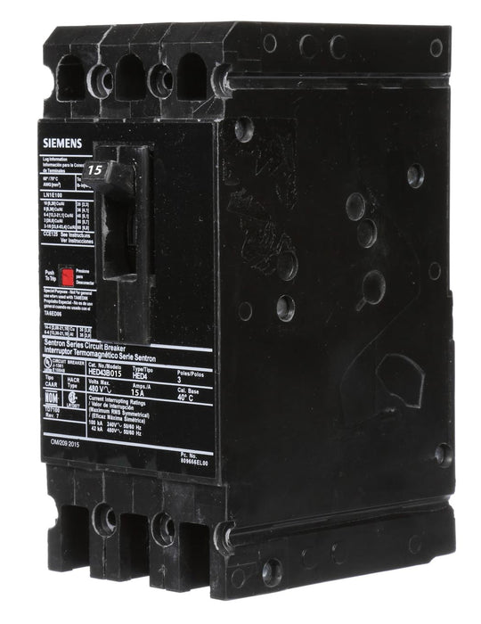 HED43B015 - Siemens 15 Amp 3 Pole 480 Volt Bolt-On Molded Case Circuit Breaker
