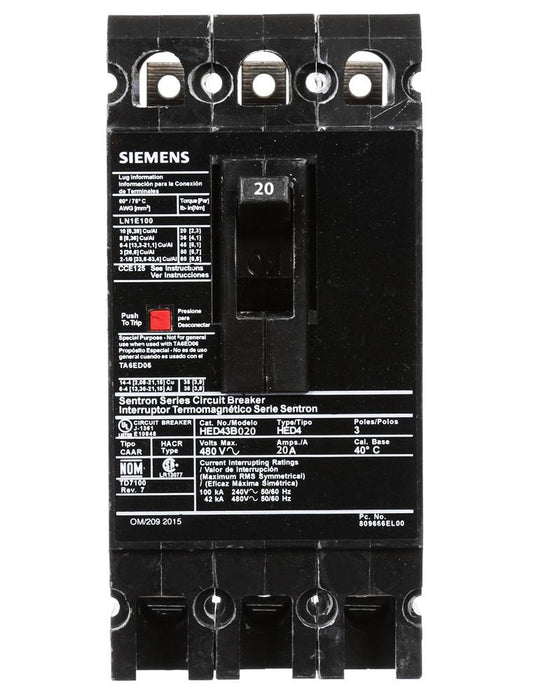 HED43B020 - Siemens 20 Amp 3 Pole 480 Volt Bolt-On Molded Case Circuit Breaker