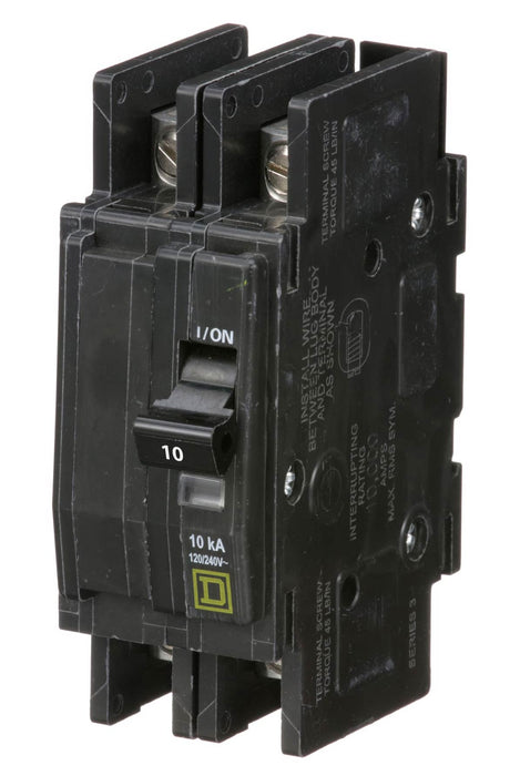 QOU210 - Square D 10 Amp 2 Pole 240 Volt Bolt-On Molded Case Circuit Breaker