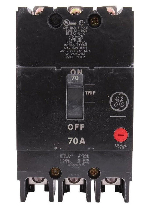 TEY370 - GE 70 Amp 3 Pole 480 Volt Bolt-On Molded Case Circuit Breaker