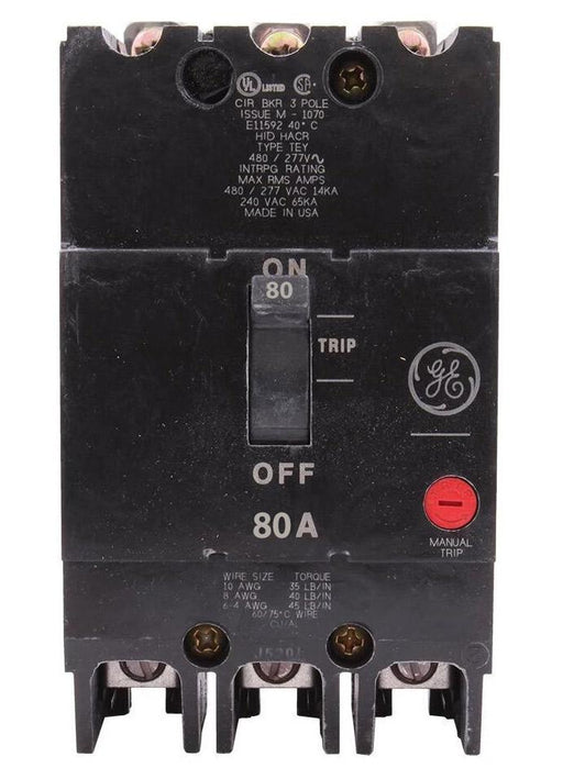 TEY380 - GE 80 Amp 3 Pole 480 Volt Bolt-On Molded Case Circuit Breaker