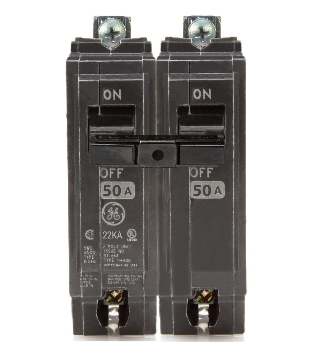 50 Amp GE THHQB2150 2 Pole 240 Volt 22KA New Style Circuit Breaker- WARRANTY