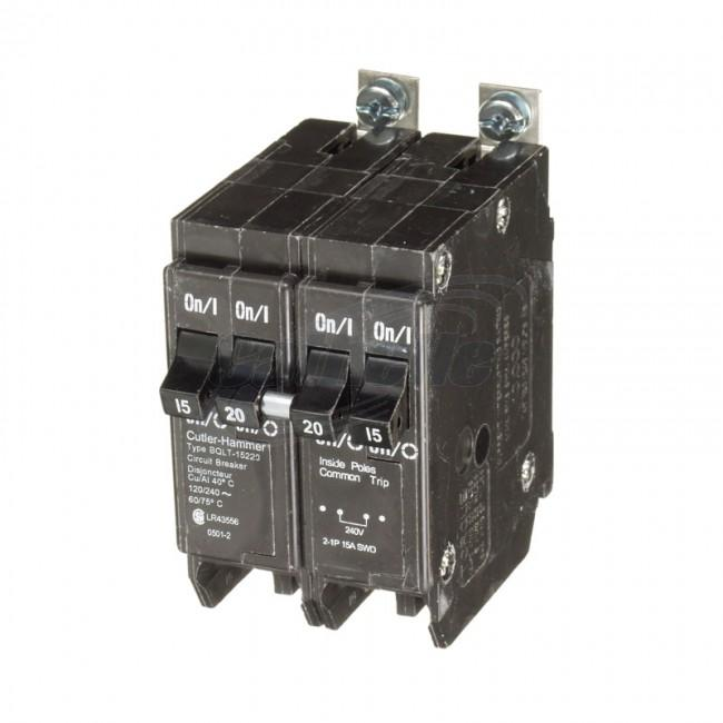 BQLT-15-220 - Commander Bolt-On Space Saver Quad Two 15 Amp Single Pole & One 20 Amp Double Pole Bolt-On Circuit Breaker