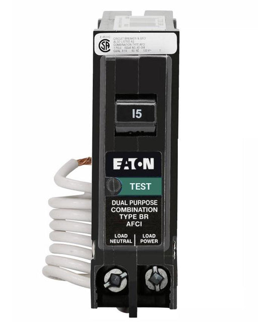 BRAF115C - Eaton Cutler-Hammer 15 Amp Single Pole Combination  Arc Fault (AFCI) Circuit Breaker