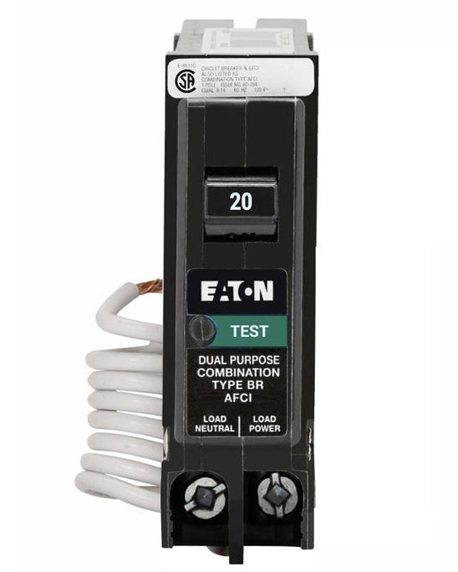 BRN120AFC - Eaton Cutler-Hammer 20 Amp Single Pole Combination  Arc Fault (AFCI) Circuit Breaker
