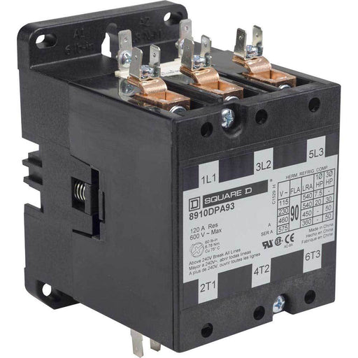 8910DPA93V02 - Square D 90 Amp 3 Pole 120 Volt Definite Purpose Contactor