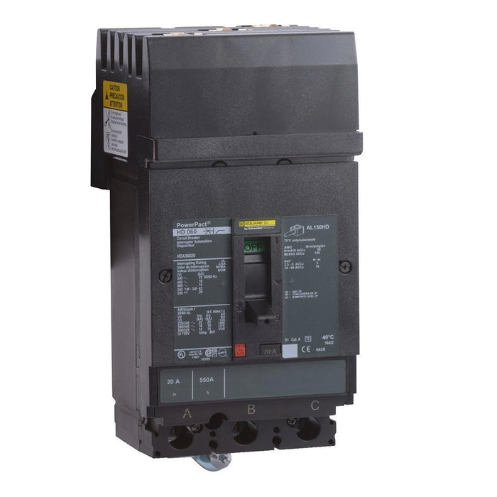 HDA36050 - Square D 50 Amp 3 Pole 600 Volt Plug-In Molded Case Circuit Breaker