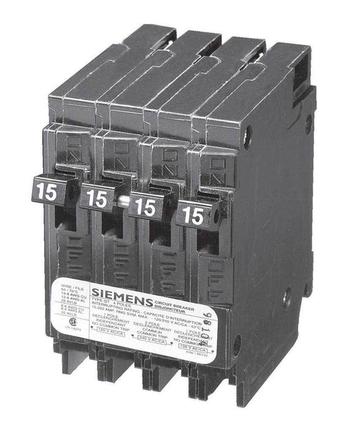 Q21515CTNC - Siemens Space Saver Quad Two 15 Amp Single Pole & One 15 Amp Double Pole Non-Current Limiting Circuit Breaker