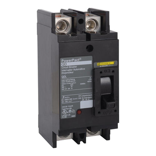 QDL22125 - Square D 125 Amp Double Pole 240 Volt PowerPact Q Molded Case Circuit Breaker