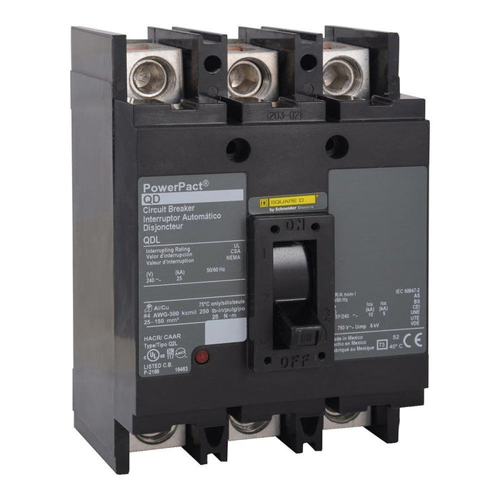 QDL32250 - Square D 250 Amp 3 Pole 240 Volt PowerPact Q Molded Case Circuit Breaker